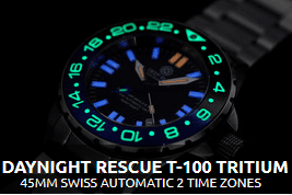 DAYNIGHT RESCUE T-100 TRITIUM SWISS GMT - AUTOMATIC