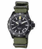 DAYNIGHT MIL T-100 TRITIUM GREEN FLAT TUBES- BLACK PVD CASE /BLACK DIAL_