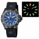 DAYNIGHT MIL T-100 TRITIUM GREEN FLAT TUBES- BLACK PVD CASE / BLUE DIAL_