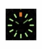 DAYNIGHT MIL T-100 TRITIUM GREEN FLAT TUBES- BLACK PVD CASE / ORANGE DIAL_
