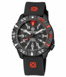 DAYNIGHT DIVER PC TRITIUM WATCH BLACK/RED BEZEL - BLACK DIAL_
