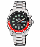 PRO SEA DIVER 1000M BRACELET BLACK/RED BEZEL - BLACK DIAL 15 30 45 RED MINUTE HAND_