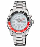PRO SEA DIVER 1000M AUTOMATIC BLACK/RED BEZEL 20 30 40 WHITE DIAL BRACELET RED MINUTE HAND_