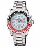 PRO SEA DIVER 1000M BRACELET BLACK/RED BEZEL - WHITE DIAL 15 30 45 RED MINUTE HAND_