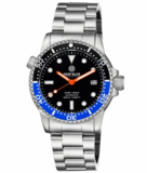 DIVER 1000 II 40MM AUTOMATIC DIVER BLACK/BLUE CERAMIC BEZEL -BLACK SUNRAY DIAL ORANGE HANDS_