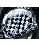 DIVER 1000 II 40MM AUTOMATIC DIVER BLACK CERAMIC BEZEL – BLACK / WHITE CHECKER DIAL BLUE SECOND HAND STRAP_