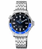 DIVER 1000 II 40MM AUTOMATIC DIVER BLACK/BLUE CERAMIC BEZEL -BLACK SUNRAY DIAL BLUE HANDS_