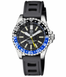 MASTER 2000 GMT DAYNIGHT T-100 TRITIUM AUTOMATIC DIVER- ETA 2893-2 SWISS MADE MOVEMENT BLACK/BLUE BEZEL BLACK DIAL YELLOW GMT HAND_