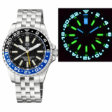 MASTER 2000 GMT DAYNIGHT T-100 TRITIUM AUTOMATIC DIVER- ETA 2893-2 SWISS MADE MOVEMENT BLACK/BLUE BEZEL BLACK DIAL YELLOW GMT HAND_