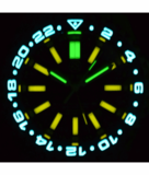 MASTER 2000 GMT DAYNIGHT T-100 TRITIUM AUTOMATIC DIVER- ETA 2893-2 SWISS MADE MOVEMENT BLACK/BLUE BEZEL BLACK DIAL YELLOW GMT HAND YELLOW TUBES_