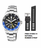 MASTER 500 42MM DAYNIGHT T-100 TRITIUM GMT AUTOMATIC DIVER- ETA 2893-2 SWISS MADE MOVEMENT BLACK/BLUE BEZEL – YELLOW GMT HAND_