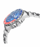 DAYNIGHT 41 TRITDIVER T-100 TRITIUM TUBES AUTOMATIC BLUE / RED BEZEL - WHITE DIAL_