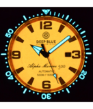 ALPHA MARINE AUTOMATIC BLACK WHITE CERAMIC LUMINOUS BEZEL FULL LUME ORANGE DIAL_