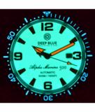ALPHA MARINE AUTOMATIC BLUE WHITE CERAMIC LUMINOUS BEZEL FULL LUME BLUE ORANGE DIAL_