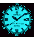 ALPHA MARINE AUTOMATIC BLACK WHITE CERAMIC LUMINOUS BEZEL FULL LUME WHITE BLUE  DIAL_