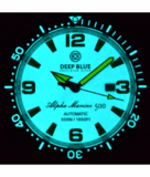 ALPHA MARINE AUTOMATIC BLACK WHITE CERAMIC LUMINOUS BEZEL FULL LUME WHITE YELLOW DIAL_