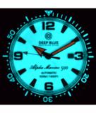 ALPHA MARINE AUTOMATIC BLACK WHITE CERAMIC LUMINOUS BEZEL FULL LUME WHITE RED DIAL_