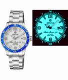 ALPHA MARINE AUTOMATIC BLUE WHITE CERAMIC LUMINOUS BEZEL FULL LUME WHITE DIAL_