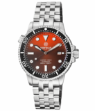 MASTER 1000 II 44MM AUTOMATIC DIVER BLACK CERAMIC BEZEL SUNRAY ORANGE DIAL STRAP_