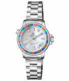 """LADIES DIVER """"LIZZY BLUE"""" – MULTI RAINBOW COLOR BAGUETTE CRYSTAL BEZEL - WHITE MOTHER OF PEARL DIAL_"""