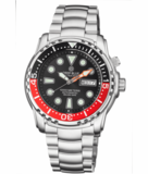 PRO SEA DIVER 1000M BRACELET BLACK/RED BEZEL - BLACK DIAL 15/30/45_