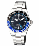 MASTER 500 42MM GMT AUTOMATIC DIVER- ETA 2893-2 SWISS MADE MOVEMENT BLACK/BLUE BEZEL – BLUE GMT HAND_