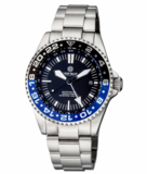 MASTER 500 42MM GMT AUTOMATIC DIVER- ETA 2893-2 SWISS MADE MOVEMENT BLACK/BLUE BEZEL – WHITE GMT HAND_