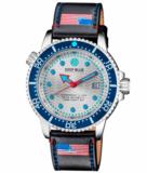 JUGGERNAUT IV USA SWISS AUTOMATIC – DIVER #7 BLUE/WHITE BEZEL - WHITE DIAL BRACELET_