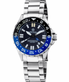 DAYNIGHT RESCUE GMT T-100 SWISS AUTOMATIC ETA 2893-2 BLACK/BLUE BEZEL- BLACK DIAL WHITE HANDS_