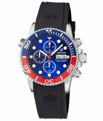 DIVER 1000 QUARTZ CHRONOGRAPH DIVER BLUE/RED BEZEL - BLUE DIAL