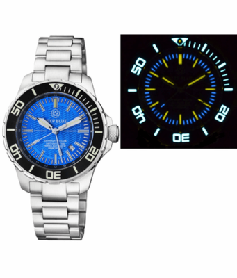 DAYNIGHT RECON GMT 2893 SWISS AUTOMATIC TRITIUM T-100 LIGHT BLUE DIAL