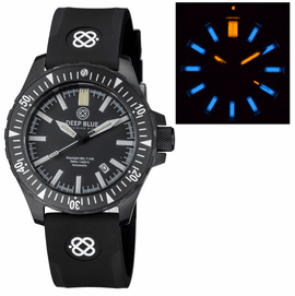 DAYNIGHT MIL T-100 TRITIUM BLUE FLAT TUBES- BLACK PVD CASE /BLACK DIAL