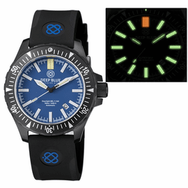 DAYNIGHT MIL T-100 TRITIUM GREEN FLAT TUBES- BLACK PVD CASE / BLUE DIAL