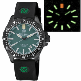 DAYNIGHT MIL T-100 TRITIUM GREEN FLAT TUBES- BLACK PVD CASE / GREEN DIAL