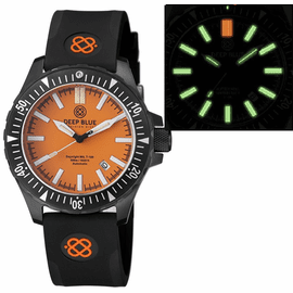 DAYNIGHT MIL T-100 TRITIUM GREEN FLAT TUBES- BLACK PVD CASE / ORANGE DIAL