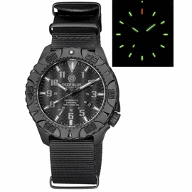 DAYNIGHT DIVER PC TRITIUM WATCH STEALTH BEZEL - BLACK DIAL
