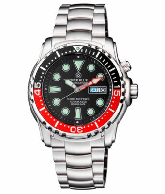 PRO SEA DIVER 1000M BRACELET BLACK/RED BEZEL - BLACK DIAL 15 30 45 RED MINUTE HAND