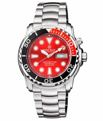 PRO SEA DIVER 1000M BRACELET 1/4 RED/ BLACK BEZEL – RED DIAL