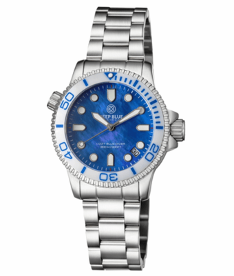 "LADIES ""LIZZY BLUE"" – DIVER CERAMIC WHITE/BLUE BEZEL – BLUE MOTHER OF PEARL DIAL"
