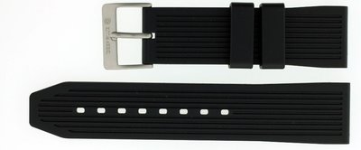 24mm Italian Rubber Strap Stripe Design