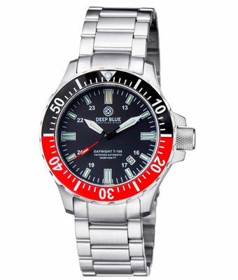 DAYNIGHT TRITDIVER T-100 AUTOMATIC BLACK/RED BEZEL- BLACK DIAL