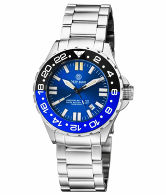 DAYNIGHT RESCUE GMT T-100 SWISS AUTO SELLITA SW-330-1 BLACK-BLUE BEZEL/BLUE DIAL/WHITE HANDS