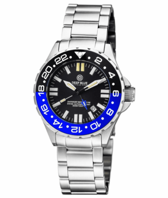DAYNIGHT RESCUE GMT T-100 SWISS AUTO SELLITA SW-330-1 BLACK-BLUE BEZEL/BLACK DIAL/WHITE HANDS