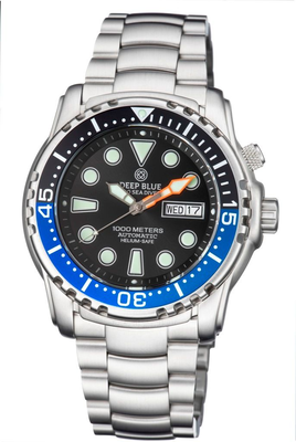 PRO SEA DIVER 1000M BRACELET BLACK/BLUE BEZEL - BLACK DIAL 15/30/45