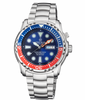 PRO SEA DIVER 1000M BRACELET BLUE/RED BEZEL - BLUE DIAL 15/30/45