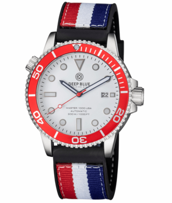 MASTER 1000 USA AUTOMATIC DIVER RED BEZEL -WHITE DIAL