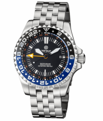 MASTER 2000 GMT AUTOMATIC DIVER- ETA 2893-2 SWISS MADE MOVEMENT BLACK/BLUE BEZEL – ORANGE GMT HAND