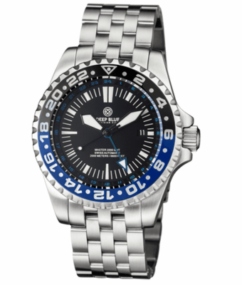 MASTER 2000 GMT AUTOMATIC DIVER- ETA 2893-2 SWISS MADE MOVEMENT BLACK/BLUE BEZEL – BLUE GMT HAND