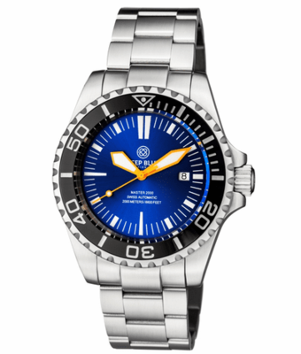 MASTER 2000 SWISS AUTOMATIC DIVER BLACK – BLUE SUNRAY DIAL – ORANGE HANDS