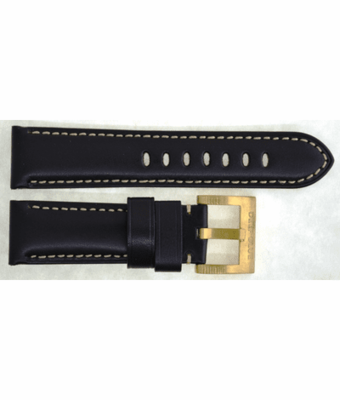 GENUINE LEATHER PADDED SMOOTH BLACK 24/22 BRASS BUCKLE